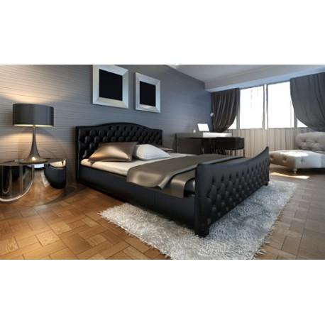 Lit double standard moderne design en simili cuir noir capitonné 140 × 200cm