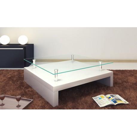 Table basse de salon carrée plateau en verre structure blanc laqué