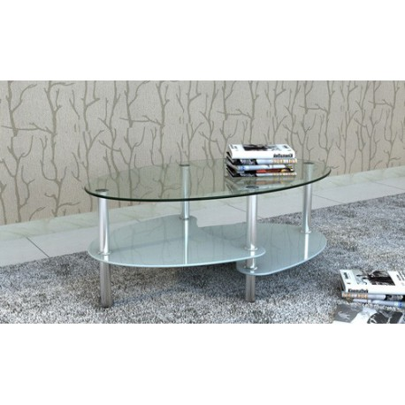 Table de salon / Table basse ovale blanche en verre