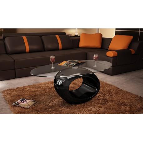 Table basse en verre ovale  pied noir