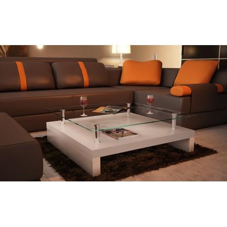 Table basse de salon carrée plateau en verre structure blanc