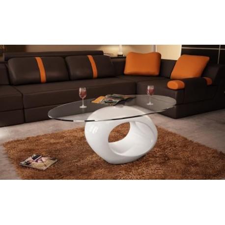 Table basse blanche laquée ovalle design en verre