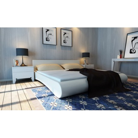 Lit design blanc 140x200 cm avec matelas