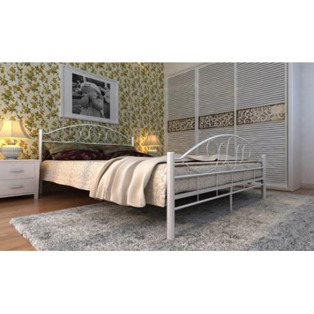 Lit en métal design arrondi avec matelas 180 x 200 cm couleur crème