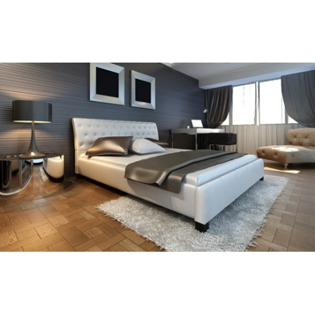 Lit blanc design  capitonné 140x200 cm