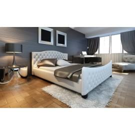 Lit design capitonné 140 x 200 cm blanc