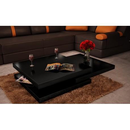 Table basse de salon carrée en MDF noir laqué pivotante - JA Discount