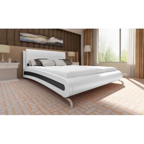 Lit design blanc et noir 180 x 200 cm avec matelas