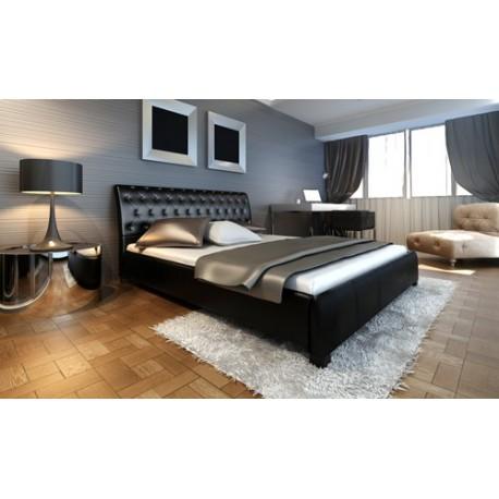 Lit design noir avec matelas 180 x 200 cm - JA Discount
