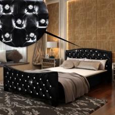 Lit contemporain noir  avec matelas 140 x 200 cm