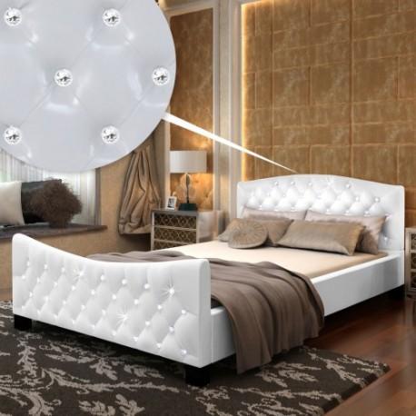 Lit contemporain blanc avec matelas 140 x 200 cm