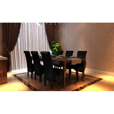 Ensemble de6  chaises en simili cuir noir capitonnées