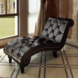 Divan canapé méridienne sofa chaise longue capitonné marron chocolat