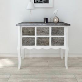 Console  armoire en bois blanc avec 6 tiroirs