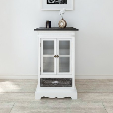 Armoire  en bois 2 portes 1 tiroir blanc