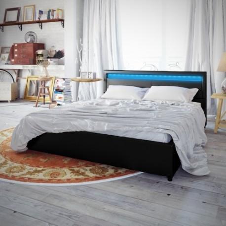 Lit adulte noir 140 x 200 cm éclairage Led