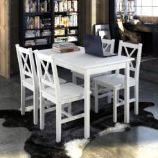 Table et 4 chaises en bois blanc bois de pin et contreplaqué 110 x 70 x 73