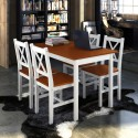 Table et 4 chaises en bois blanc/ brun bois de pin et contreplaqué 110 x 70 x 73