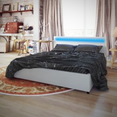 Lit  désign 140 × 200 cm blanc avec éclairage Led