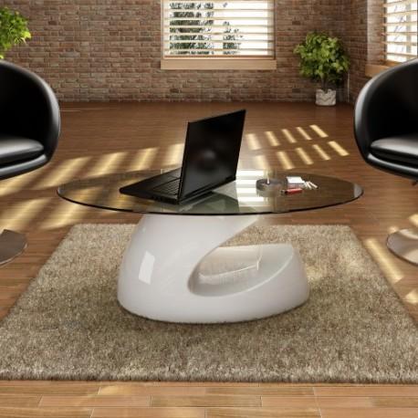 Table basse brillante avec base creuse blanche ou noire