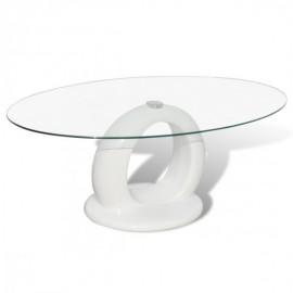 Table basse brillante avec base en forme de trou blanche
