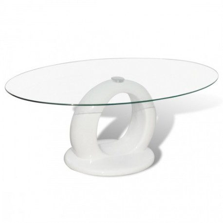 Table basse brillante avec base en forme de trou blanche ou  noire