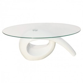 Table basse brillante avec plateau en verre blanche