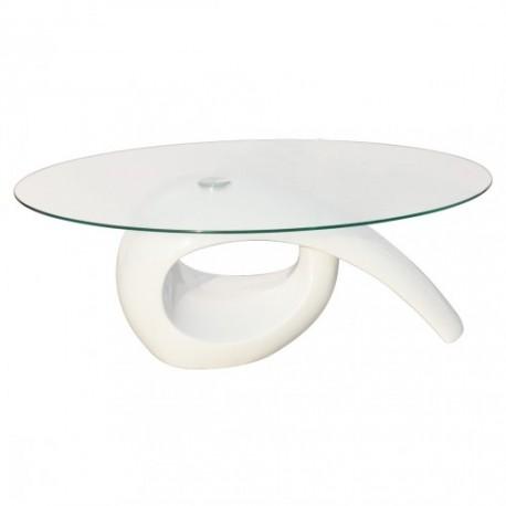 Table basse brillante avec plateau en verre blanche ou noire