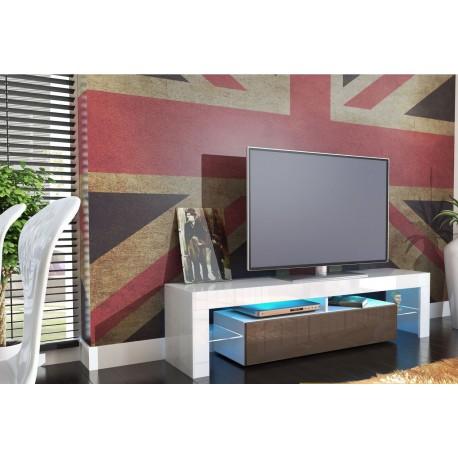 Meuble tv design laqué blanc et chocolat