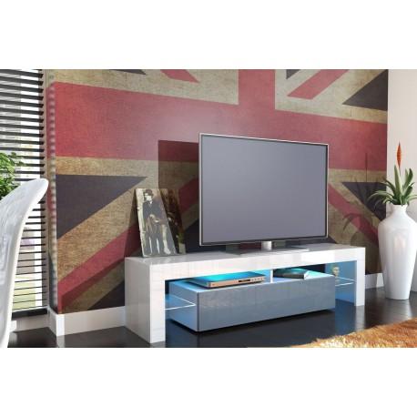 Meuble tv design laqué blanc et gris