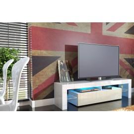 Meuble tv design laqué blanc et crème