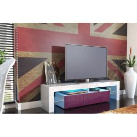 Meuble tv design laqué blanc et violet