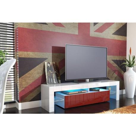 Meuble tv design laqué blanc et bordeaux