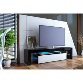 Meuble tv design noir laqué et blanc