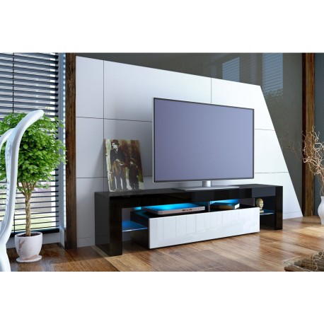 meuble tv design noir laqu et blanc. Black Bedroom Furniture Sets. Home Design Ideas