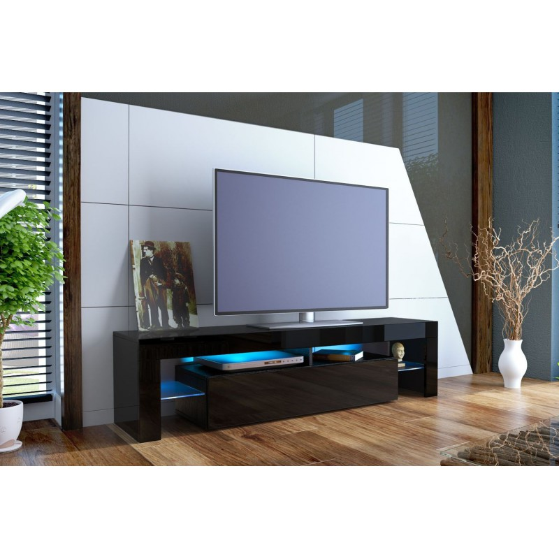 meuble tv design laqu noir ja discount. Black Bedroom Furniture Sets. Home Design Ideas