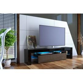 Meuble tv design laqué noir et chocolat