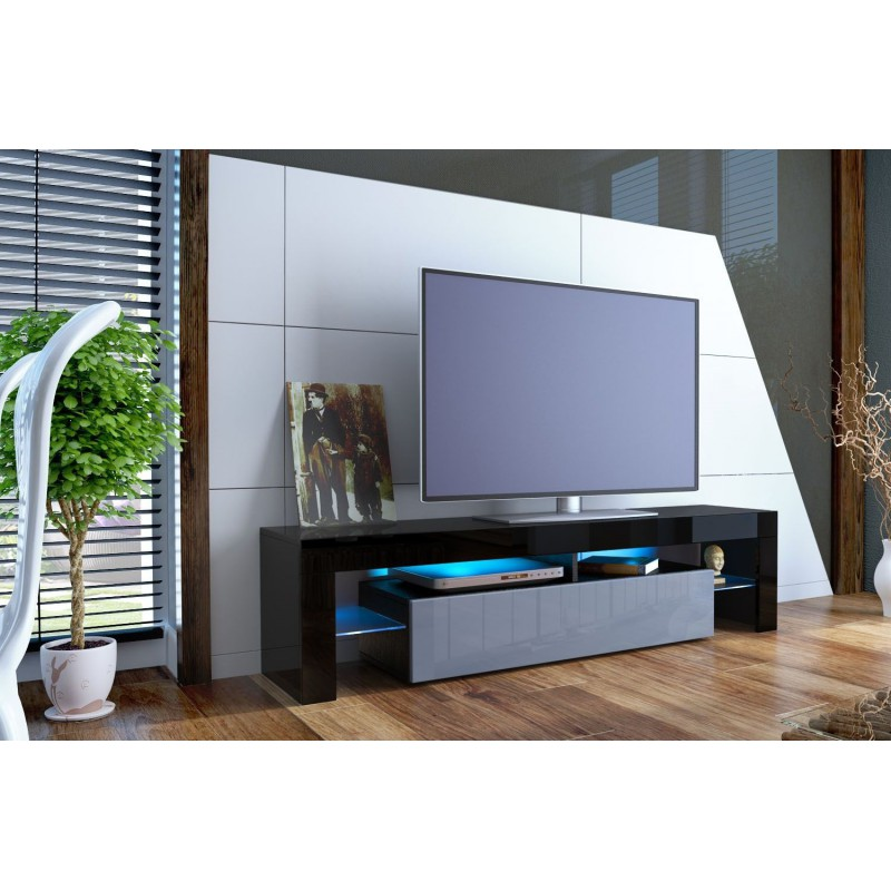 meuble tv design noir laqu et gris ja discount. Black Bedroom Furniture Sets. Home Design Ideas