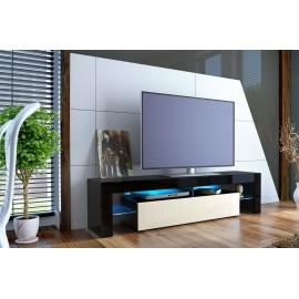Meuble tv design laqué noir et crème