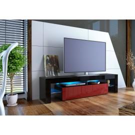 Meuble tv design laqué noir et bordeaux