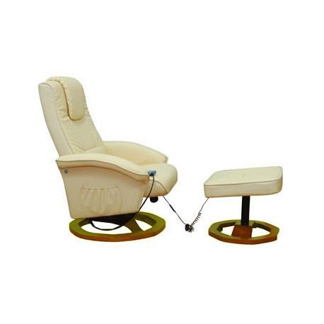 Fauteuil de massages écru avec repose pieds séparé