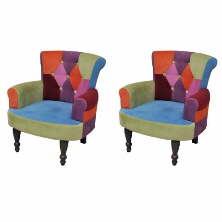 Ensemble de 2 fauteuils avec accoudoirs design patchwork élégant