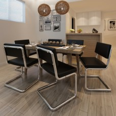 Set de 6 Chaises de salon Design et Moderne en Simili Cuir Noir