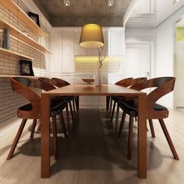 Chaises à accoudoirs salle à manger en cuir brun
