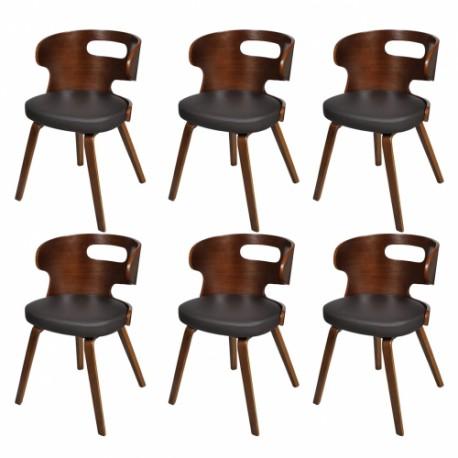 Ensemble de 6 chaises de salle à manger en cuir brun