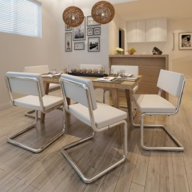 Set de 6 Chaises de salon Design et Moderne en Simili Cuir blanc