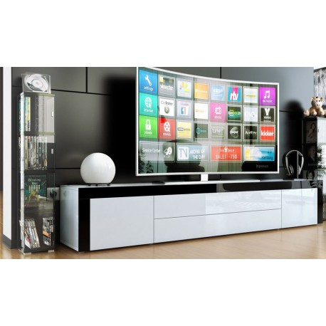 Meuble bas pour tv blanc / blanc / noir