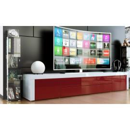 Meuble bas tv laqué blanc / bordeaux
