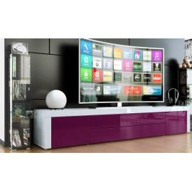 Meuble bas tv laqué blanc / violet