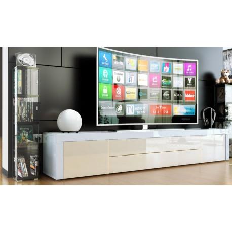 Meuble bas tv laqué blanc/ crème